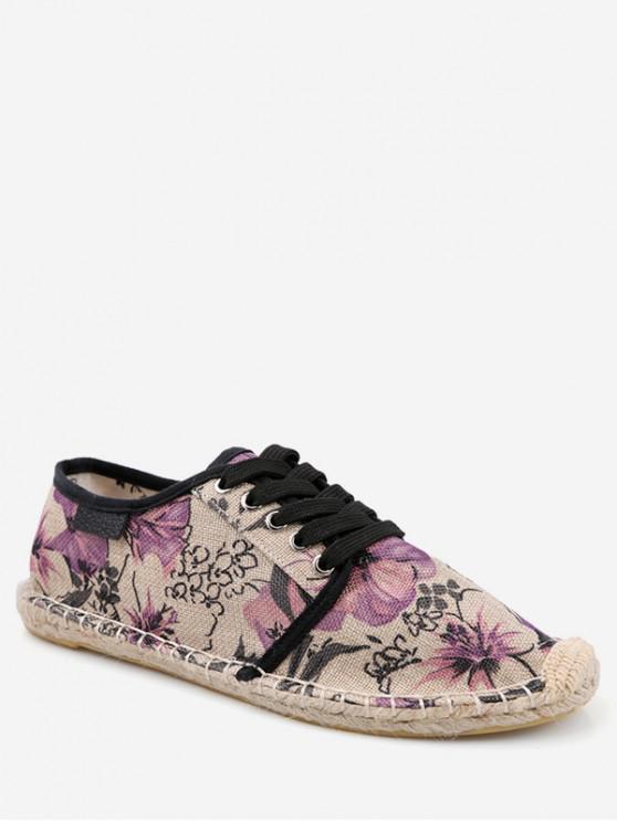 women's Flower Pattern Espadrille Shoes - PURPLE FLOWER EU 39