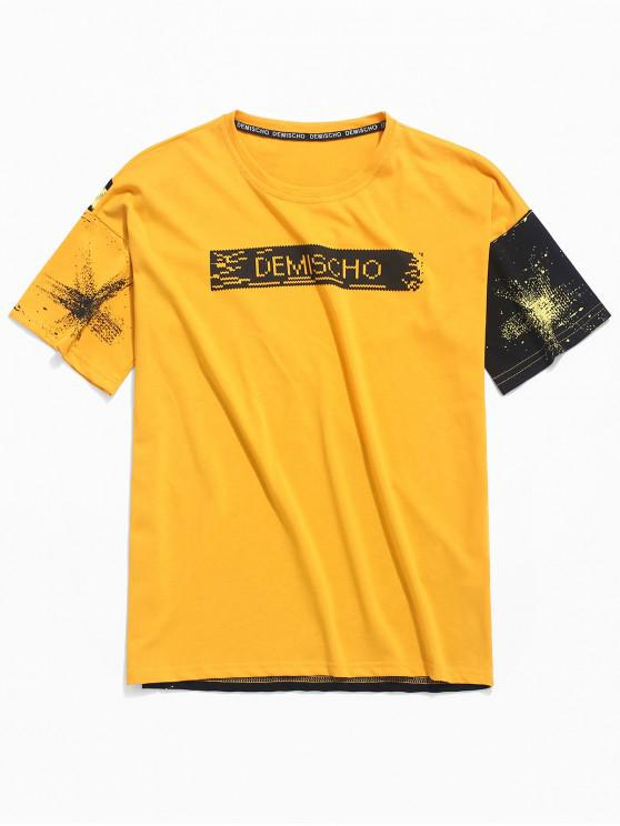 lady Color Block Painting Print Casual Splicing T-shirt - YELLOW M