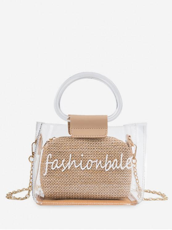 trendy Letter Print Transparent Chain Tote Bag - KHAKI