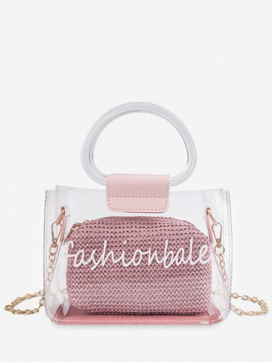 buy Letter Print Transparent Chain Tote Bag - PINK