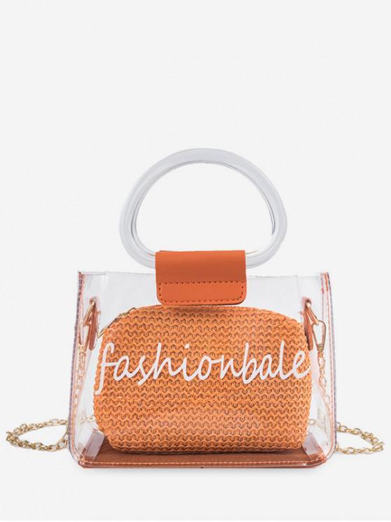 women Letter Print Transparent Chain Tote Bag - TIGER ORANGE