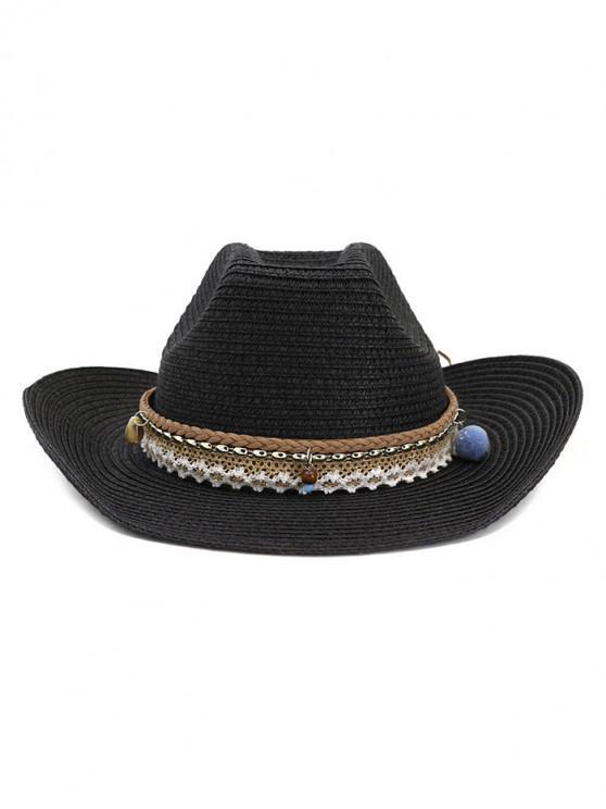 outfits Braid Beach Straw Cowboy Hat - BLACK