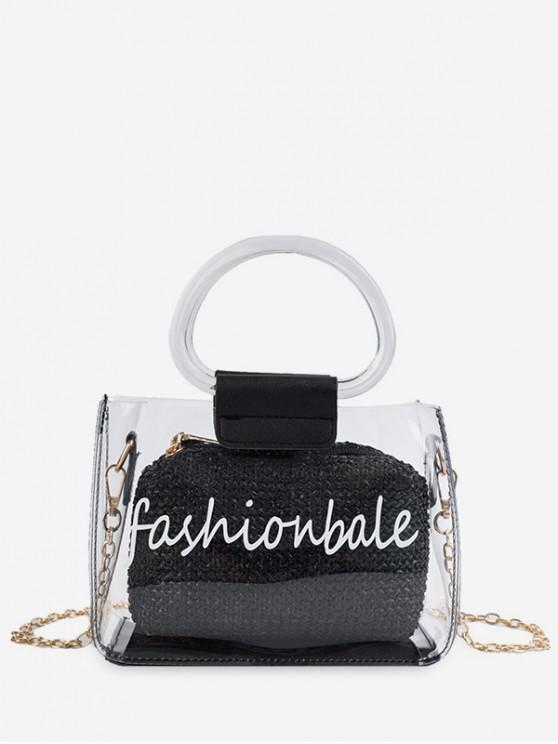 fashion Letter Print Transparent Chain Tote Bag - BLACK
