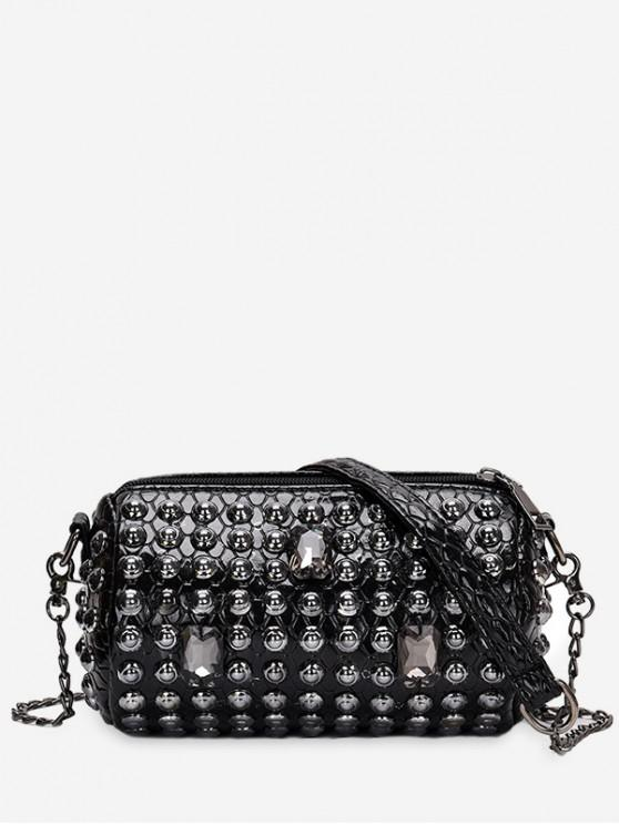unique Rivet Design Shoulder Bucket Bag - BLACK