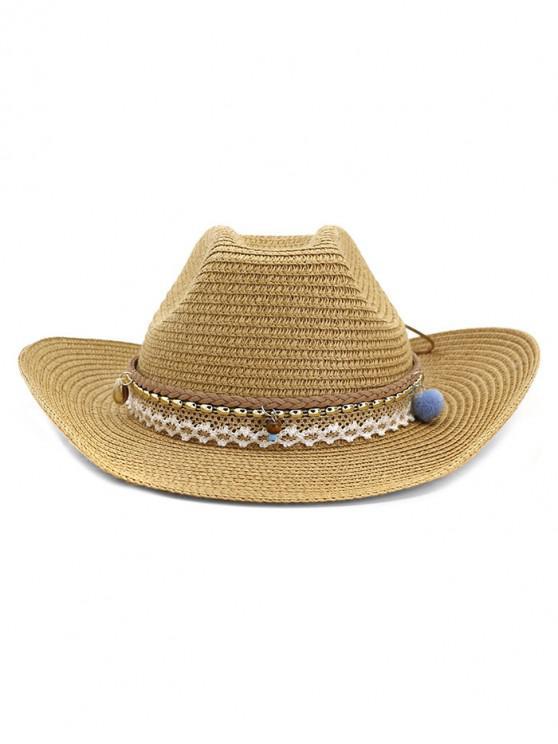 affordable Braid Beach Straw Cowboy Hat - KHAKI