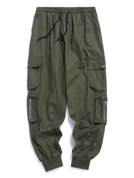 lady Solid Color Multi-pocket Casual Jogger Pants - ARMY GREEN 2XL