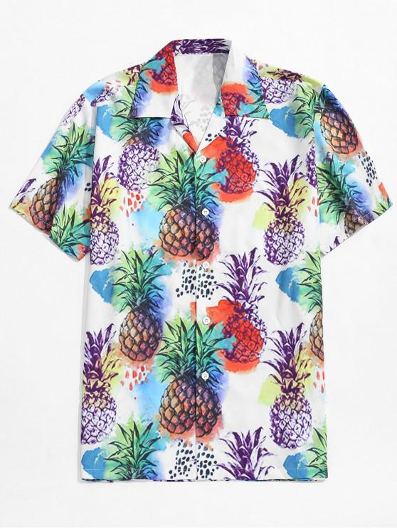outfit Pineapple Painting Print Beach Shirt - MULTI M