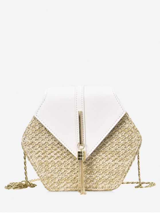 buy Fringed Geometric Straw Crossbody Bag - WHITE