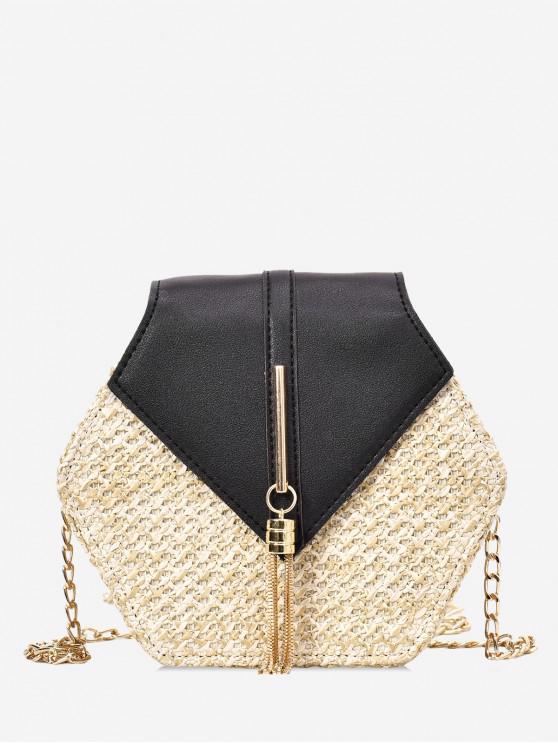 trendy Fringed Geometric Straw Crossbody Bag - BLACK