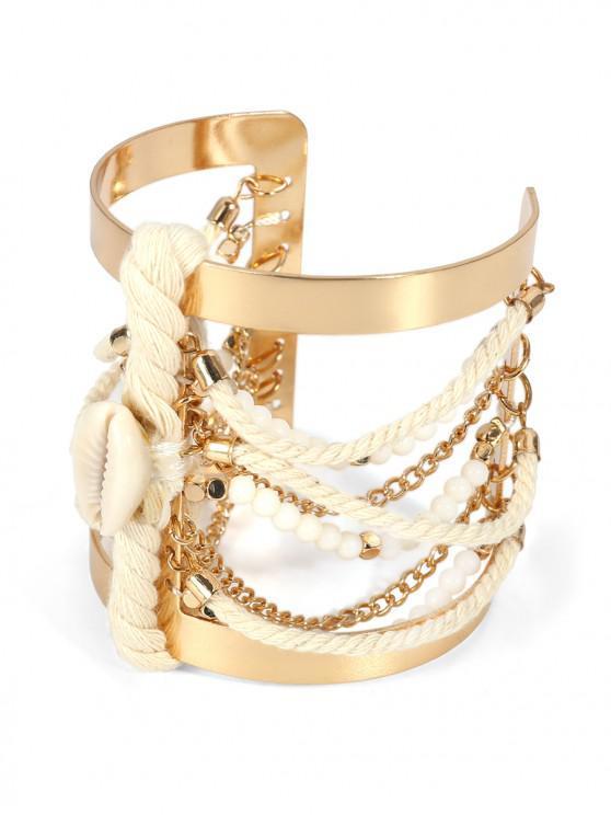 Bracelet Large Perlé Ethnique Coquille - Or