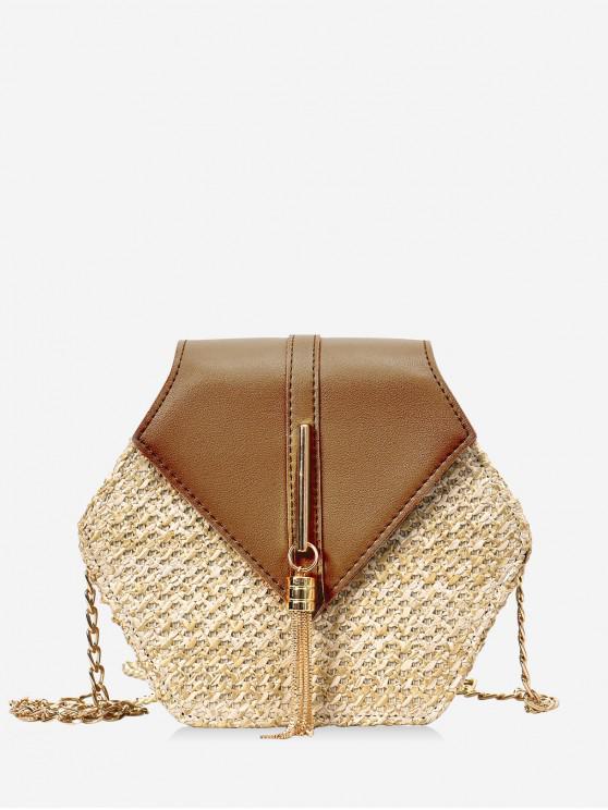 buy Fringed Geometric Straw Crossbody Bag - BROWN