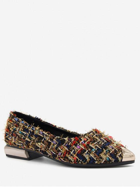 lady Pointed Toe Plaid Flat Shoes - BLACK EU 39