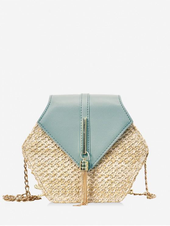 online Fringed Geometric Straw Crossbody Bag - MINT GREEN
