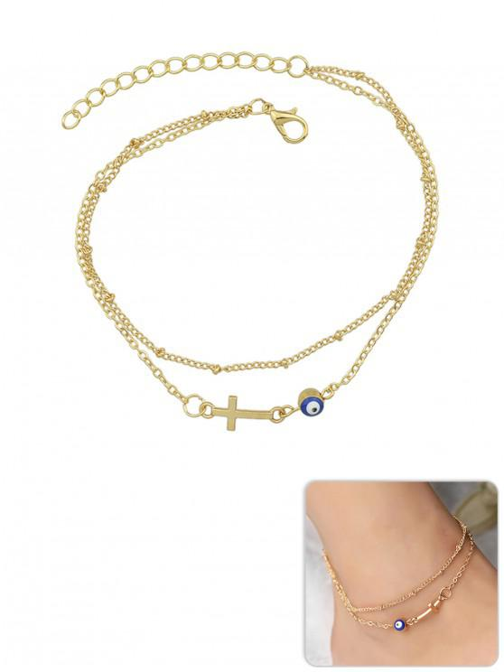 outfits Cross Beach Layered Chain Anklet - GOLD