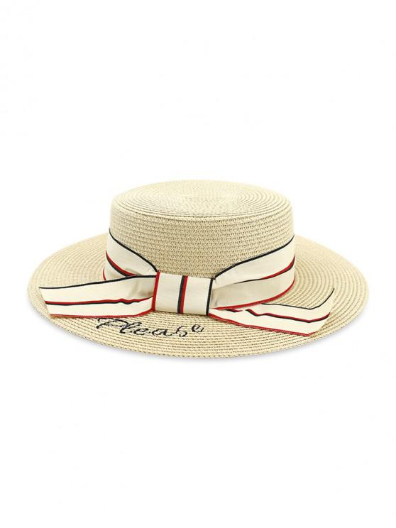 chic Beach Bowknot Straw Woven Hat - BEIGE
