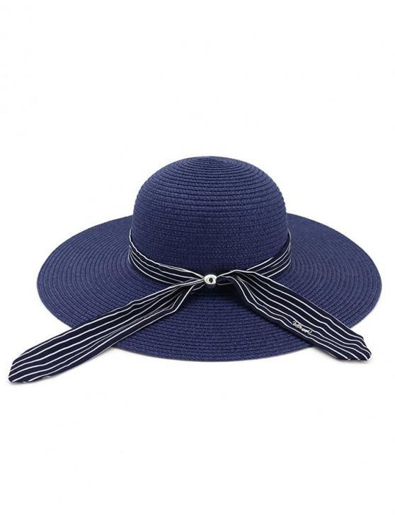 online Stripe Ribbon Floppy Straw Hat - CADETBLUE