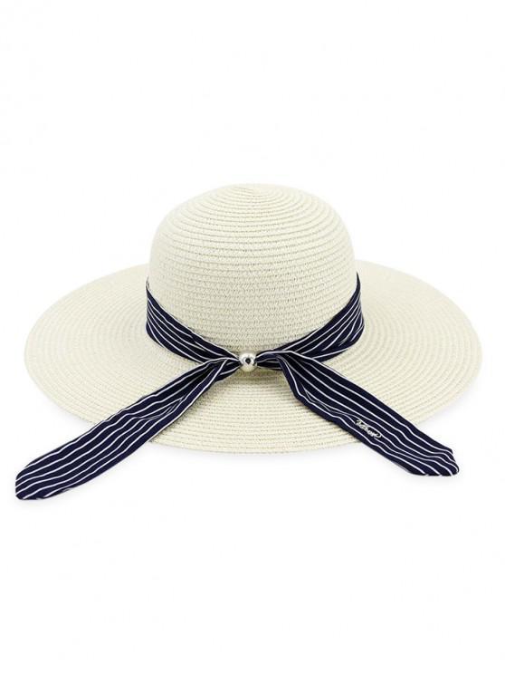 new Stripe Ribbon Floppy Straw Hat - MILK WHITE