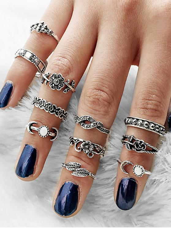 outfits 11Pcs Carved Flower Moon Ring Set - SILVER