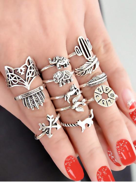 shop Vintage 12 Piece Animal Ring Set - SILVER