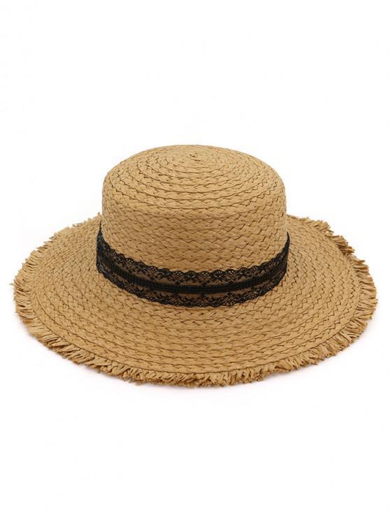 unique Beach Fringed Straw Woven Hat - KHAKI