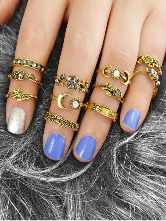 ladies 11Pcs Carved Flower Moon Ring Set - GOLD