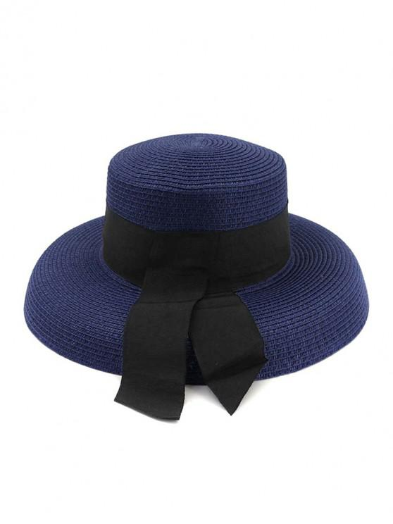 lady Beach Travel Straw Knitted Hat - CADETBLUE