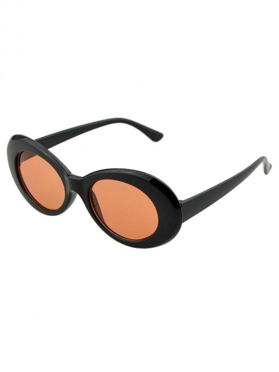 outfit Round Wide Rim Beach Sunglasses - BROWN