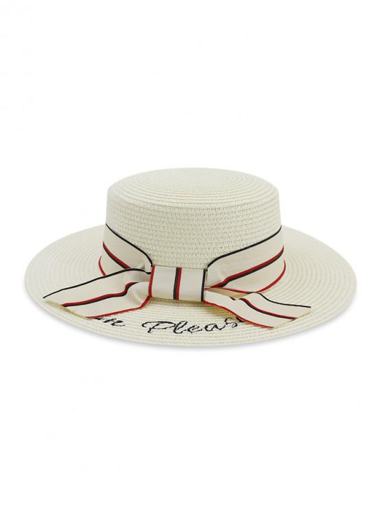 outfits Beach Bowknot Straw Woven Hat - MILK WHITE