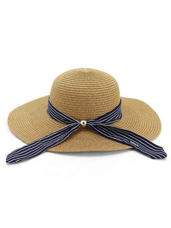 1ec4954402bcb 27% OFF] 2019 Stripe Ribbon Floppy Straw Hat In KHAKI | ZAFUL Australia