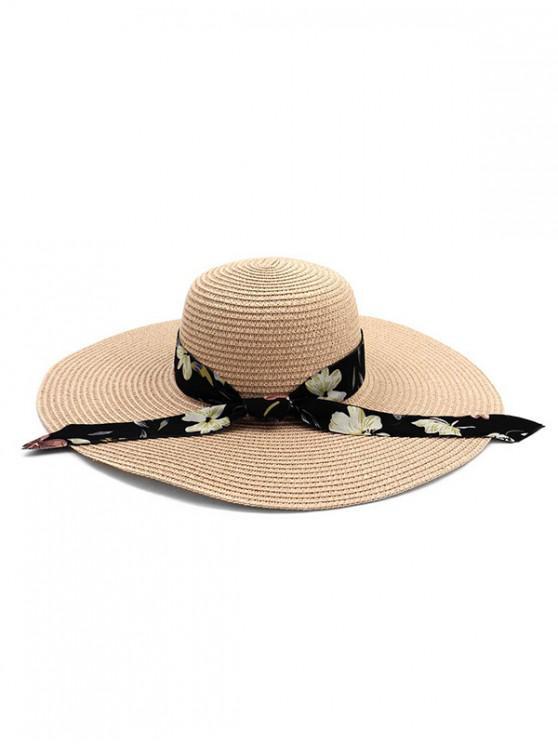 women Ribbon Folding Beach Straw Sun Hat - PINK