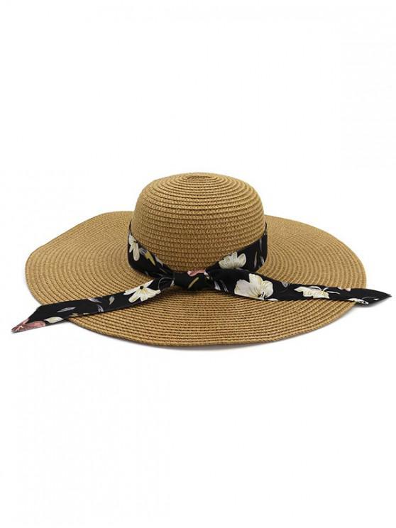 Chapeau de Soleil de Plage Pliable avec Ruban en Paille - Kaki