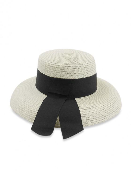 trendy Beach Travel Straw Knitted Hat - MILK WHITE