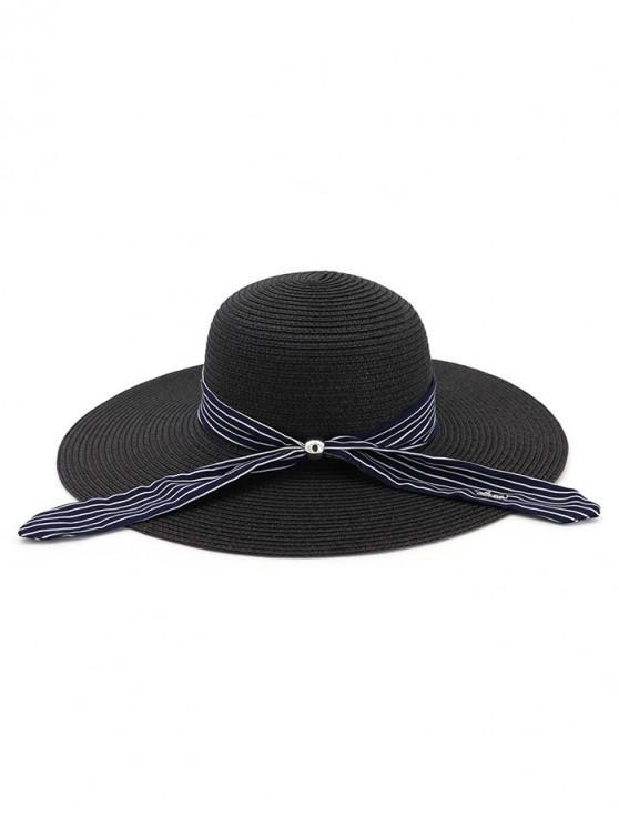 fashion Stripe Ribbon Floppy Straw Hat - BLACK