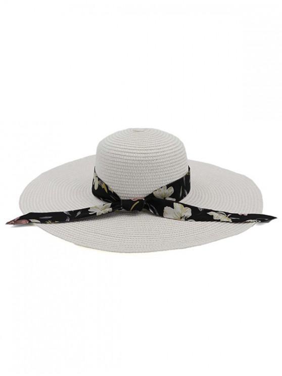 unique Ribbon Folding Beach Straw Sun Hat - WHITE