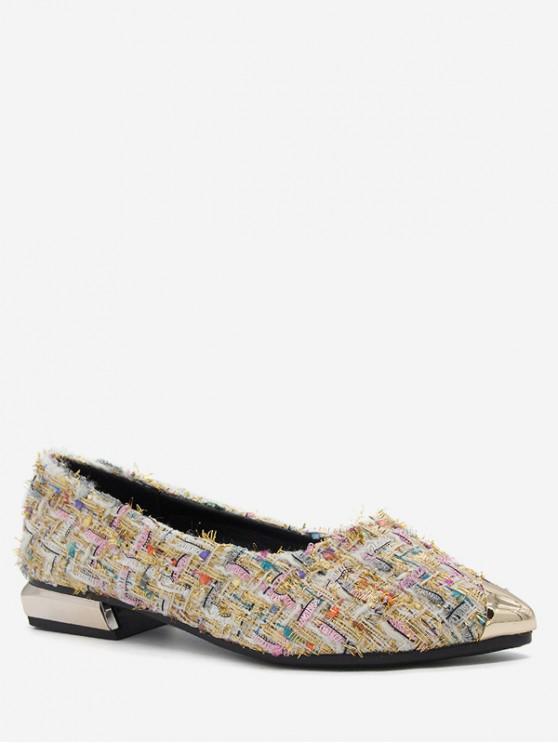 sale Pointed Toe Plaid Flat Shoes - WHITE EU 36