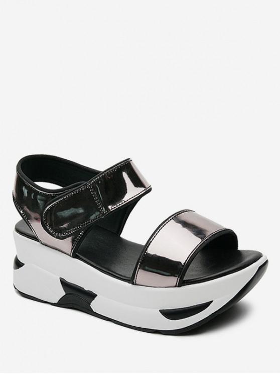 trendy Color Spliced Decoration Platform Sandals - SILVER EU 37