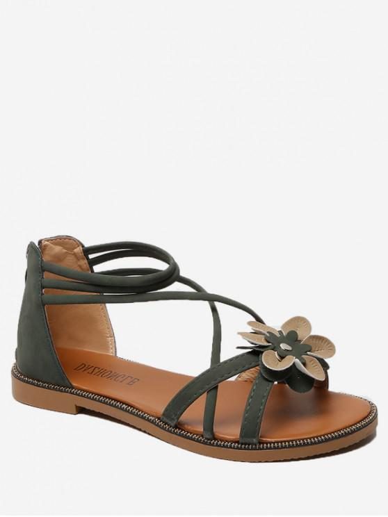 c7268a810e1 2% OFF  2019 Flower Decor Cross Strap Flat Sandals In HAZEL GREEN ...