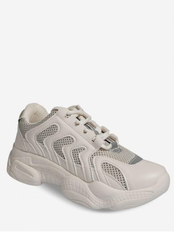 womens Lace-up Breathable Casual Sport Sneakers - BEIGE EU 36