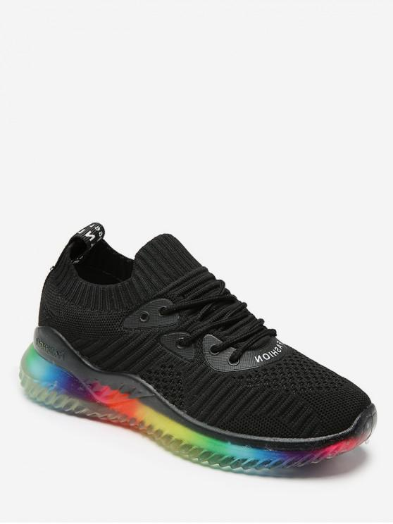 ladies Breathable Lace-up Casual Sport Sneakers - BLACK EU 35