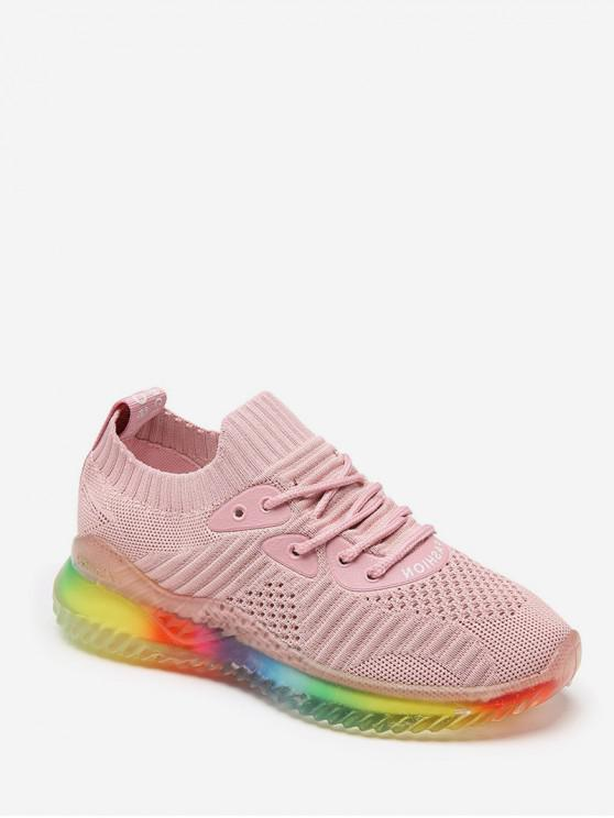 latest Breathable Lace-up Casual Sport Sneakers - PINK EU 40