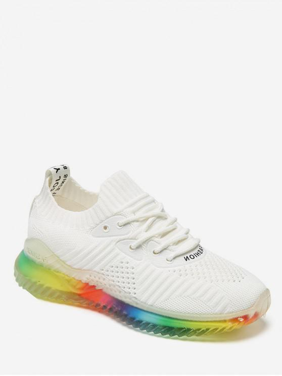 ladies Breathable Lace-up Casual Sport Sneakers - WHITE EU 40