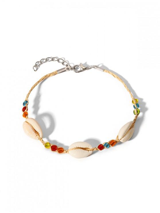 trendy Shell Beaded Straw Anklet - WHITE