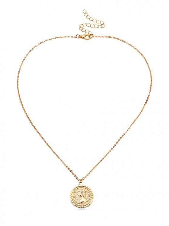 outfit Coin Carved Round Pendant Necklace - MULTI-C