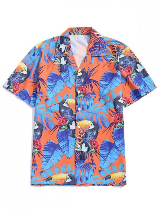 hot Tropical Leaf Animal Flower Print Beach Shirt - MULTI M