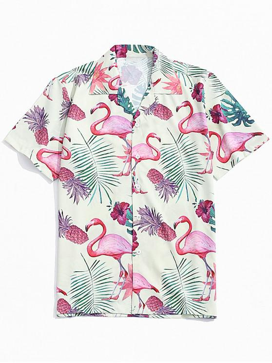 trendy Flamingo Pineapple Print Hawaii Beach Shirt - MULTI L