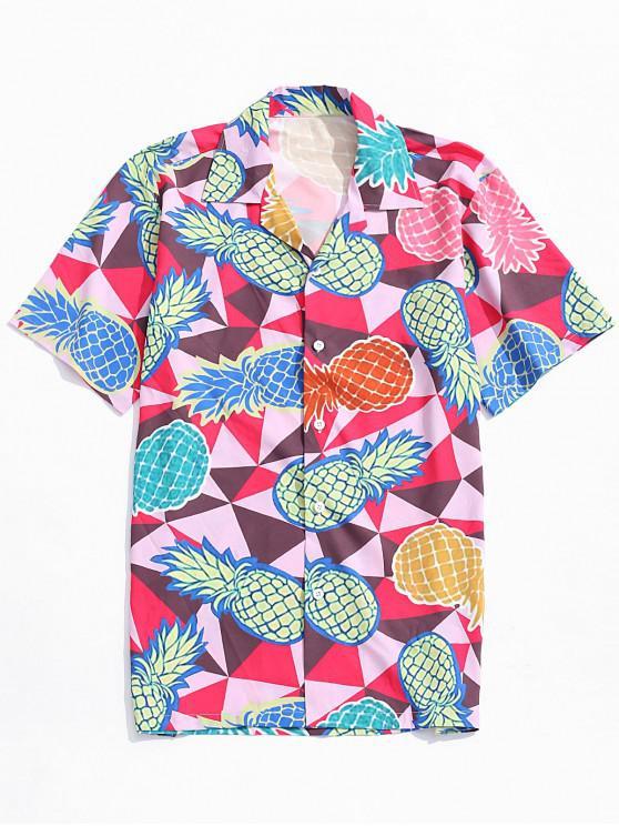 fancy Pinapple Print Casual Beach Shirt - MULTI S