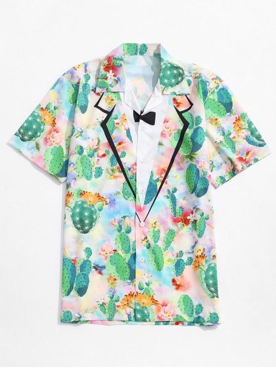 Imitat-Kragen- Kaktus -Blumendruck- Shirt - Multi S