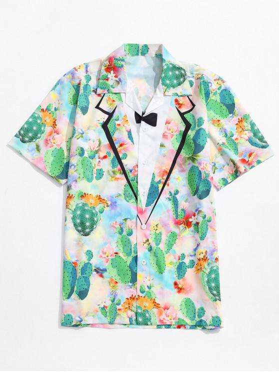 women Faux Collar Cactus Flowers Print Shirt - MULTI M