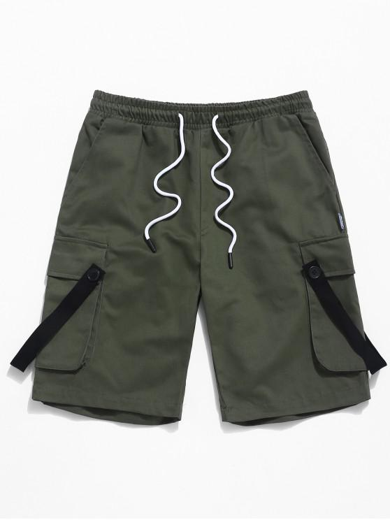 best Ribbon Design Casual Cargo Shorts - ARMY GREEN XS