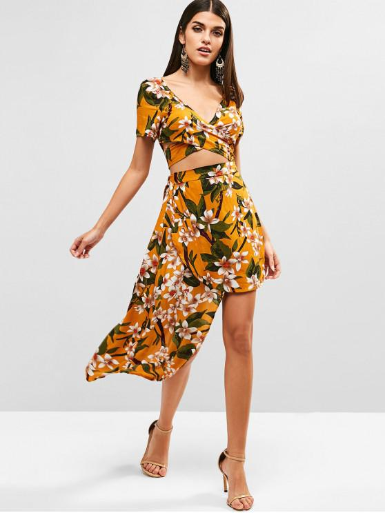 trendy Floral Wrap Top and Asymmetric Skirt Set - BEE YELLOW XL